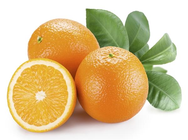 Ripe orange on a white background